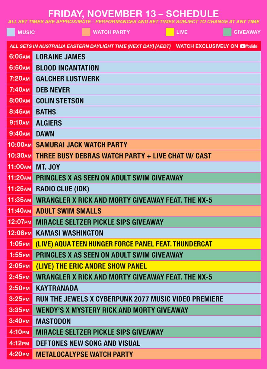 as fest schedule aedt friday