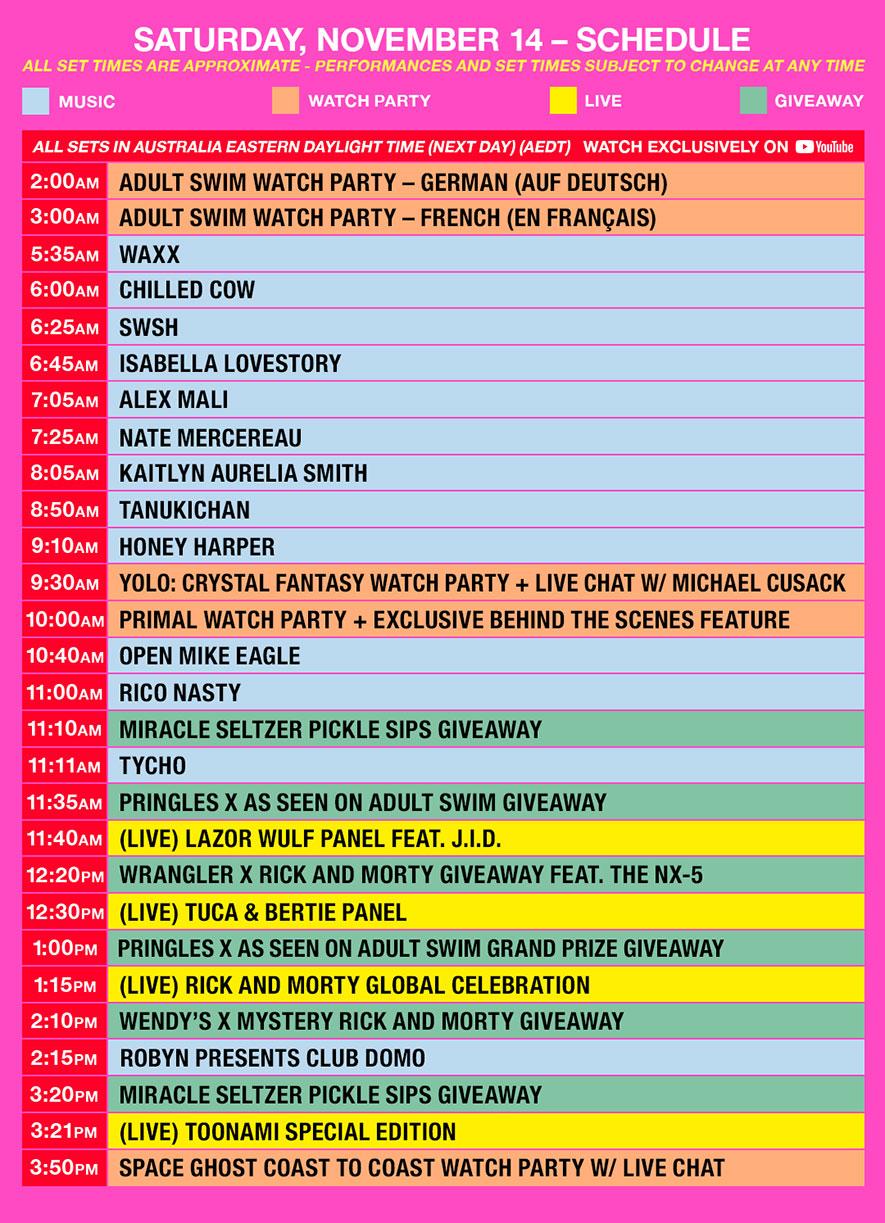 as fest schedule aedt saturday