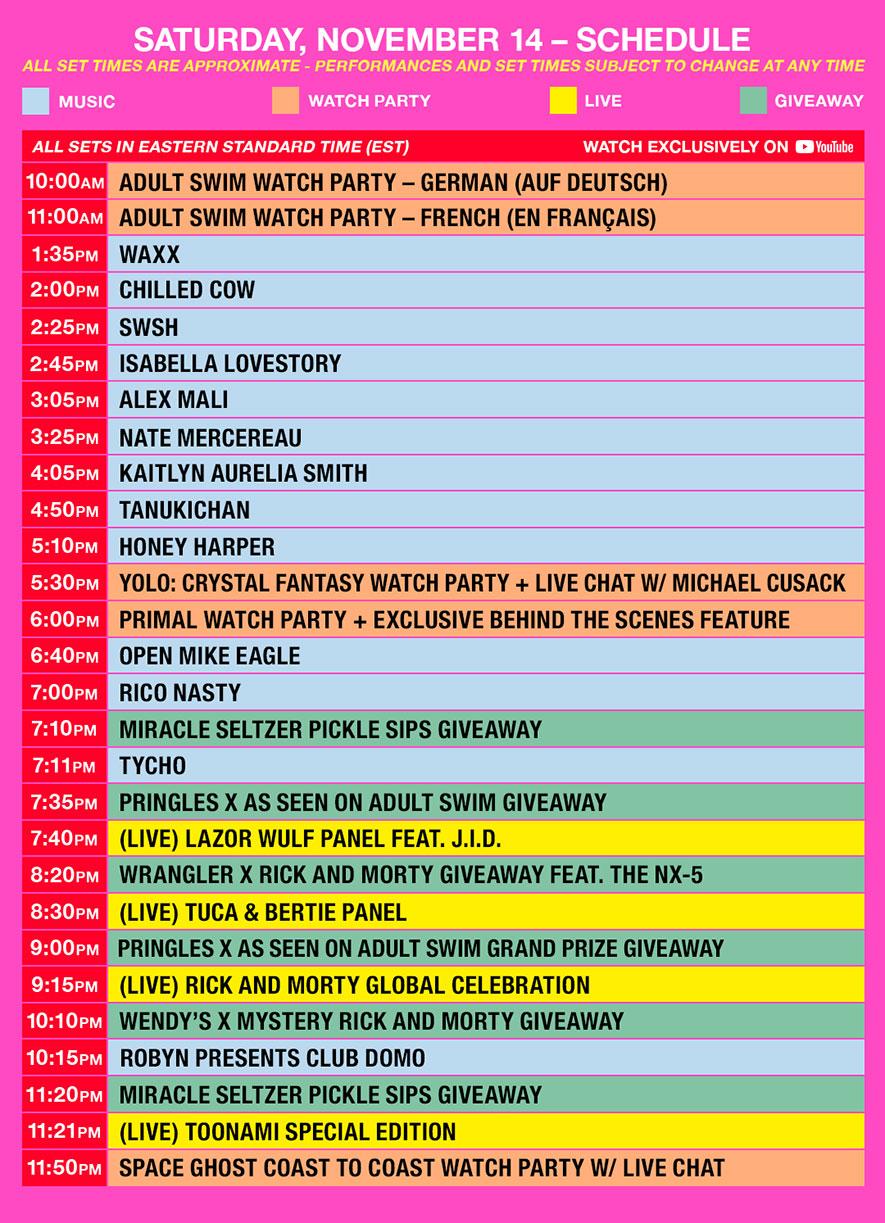 as fest schedule est saturday