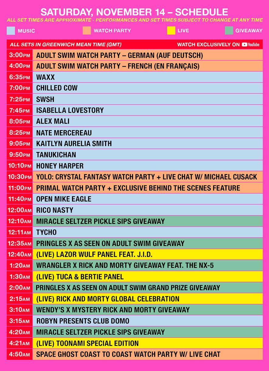 as fest schedule gmt saturday