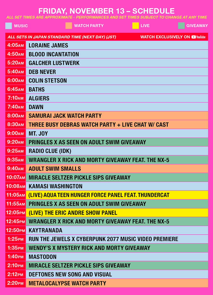 as fest schedule jst friday