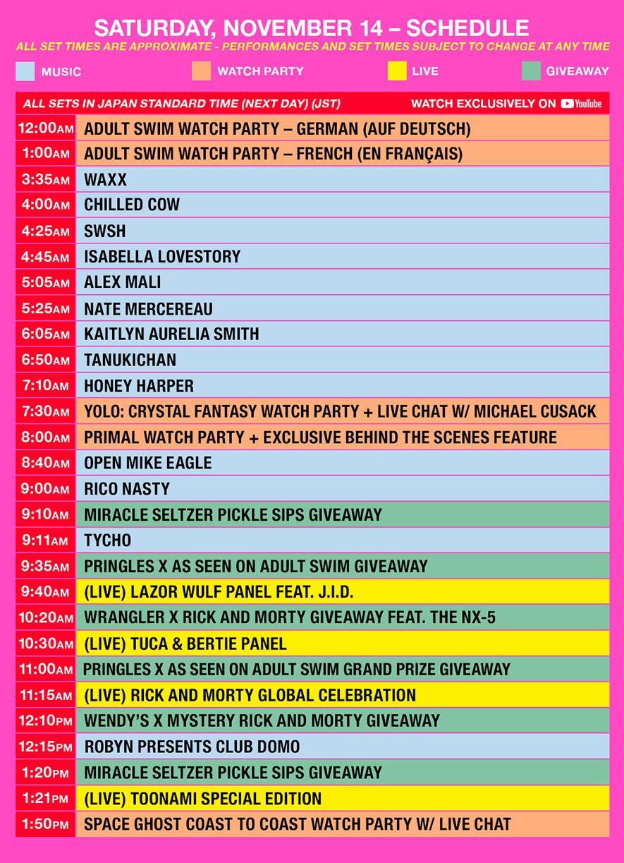 as fest schedule jst saturday