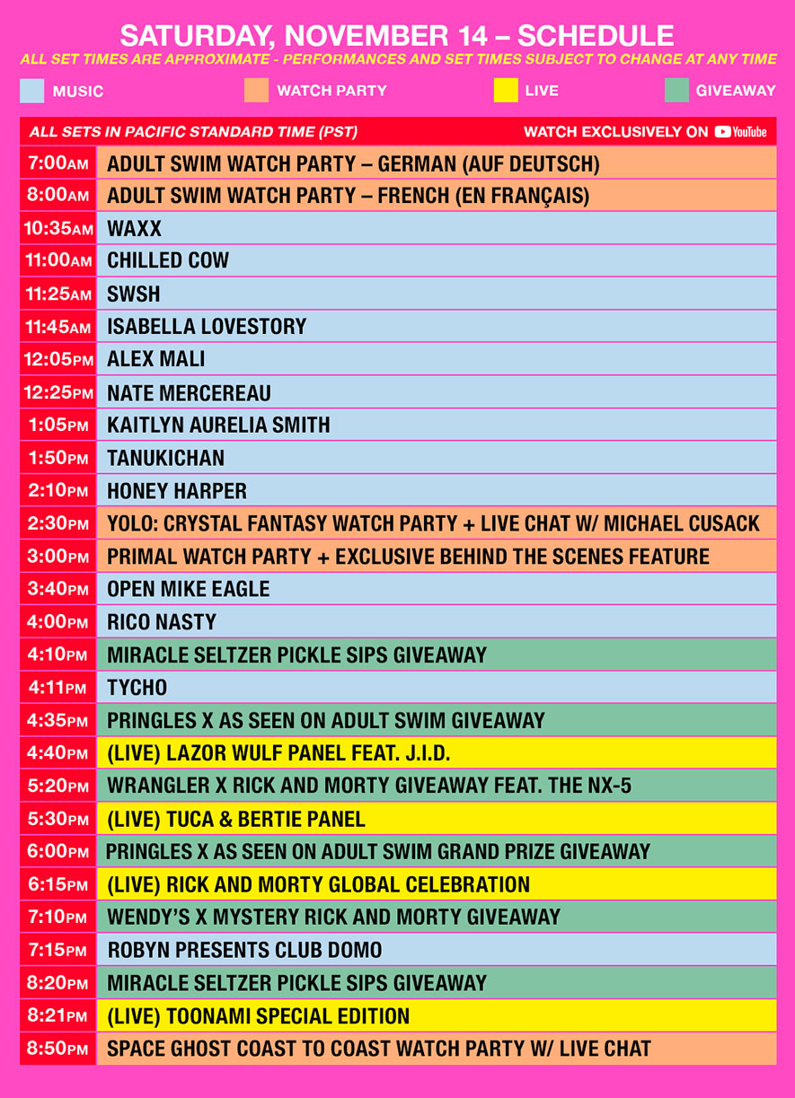 as fest schedule pst saturday